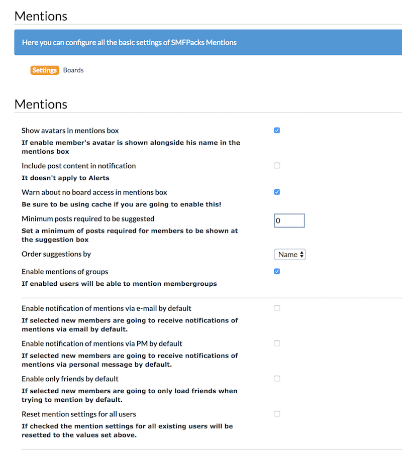 Mentions admin panel