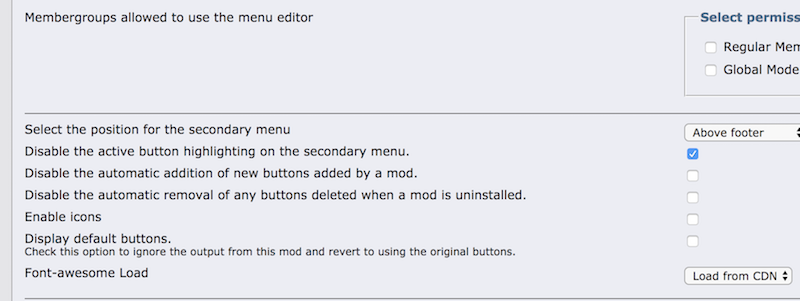 Menu Editor Settings